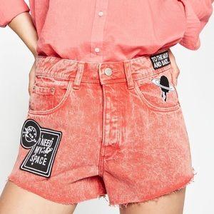 NWT Zara High Waist Moon/Space Jean Shorts